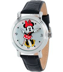 disney minnie mouse women's shinny silver vintage alloy watch