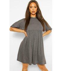 batwing sleeve smock dress, grey marl