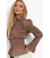 plisse blouse met knopen en franjes, chocolate