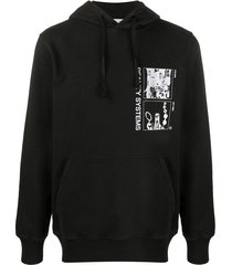 1017 alyx 9sm grid printed popover hoodie - black