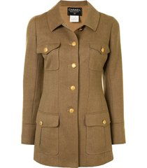 chanel pre-owned 1996 cutaway collar coat - brown