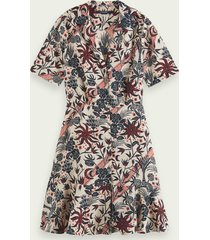 scotch & soda short sleeve printed button up mini dress