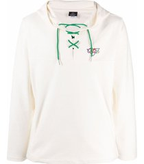clottee lace-up embroidered-logo hoodie