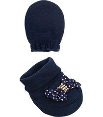 conjunto beb㪠sapatinho e luva poã¡- 02 peã§as - azul marinho - menina - dafiti