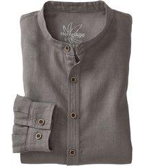 overhemd met lange mouwen van hennep/bio-katoen, taupe xxl
