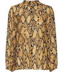 snake shirt blouse lange mouwen geel second female