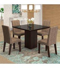 mesa de jantar 4 lugares geisa venus ameixa/malta/preto - viero móveis