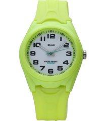 miramar – orologio verde in silicone con quadrante bianco per unisex