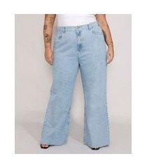 calça jeans feminina plus size mindset wide rio cintura super alta azul claro marmorizado