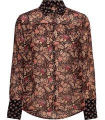 button through shirt in mixed prints långärmad skjorta brun scotch & soda