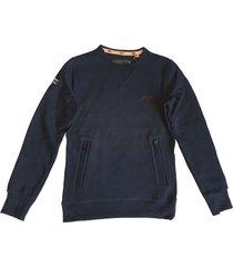 superdry zachte donkerblauwe sweater met 2 ritszakken