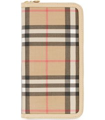 burberry vintage check e-canvas and leather wallet - neutrals