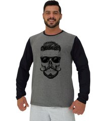 camiseta manga longa moletinho alto conceito caveira topete bigode francãªs mescla escuro preto - cinza/preto - masculino - algodã£o - dafiti
