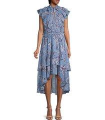 jayda ruffled floral high-low dress