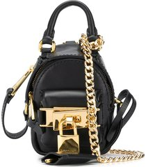 moschino micro lock backpack - black