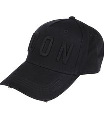 black cotton icon baseball cap