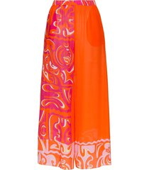 emilio pucci wide leg printed beach trousers - orange