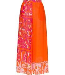 emilio pucci wide leg printed beach trousers - orange