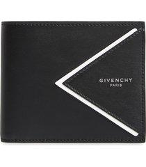 men's givenchy v-shape leather wallet - black