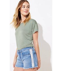 loft petite side stripe denim cut off shorts in vivid mid indigo wash
