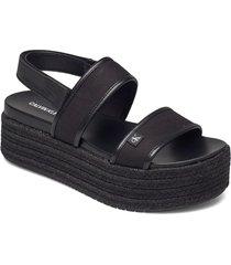 wedge platform sandal sling co shoes summer shoes flat sandals svart calvin klein