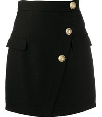 balmain buttoned short skirt - black