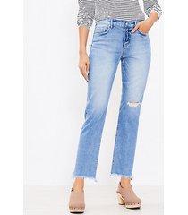 loft frayed mid rise straight crop jeans in staple dark indigo wash