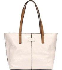 bolsa shopping bag croco com detalhe recorte wj feminina - feminino