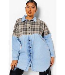 plus oversized spijkerblouse met geruit paneel, light blue