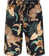 desmond & dempsey jungle print pajama shorts - black