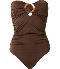 brigitte manu draped one-piece with ring - brown