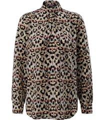 blouse van 100% zijde met lange mouwen van laura biagiotti roma beige