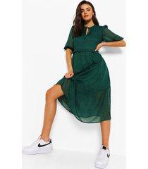 midi jurk met stippen, hals strik en pofmouwen, groen