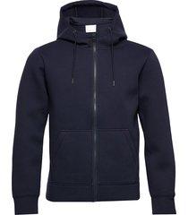 hoodie neopren with zip - vegan hoodie trui blauw knowledge cotton apparel