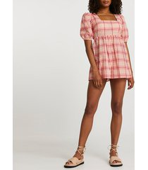 river island womens pink short sleeve check playsuit