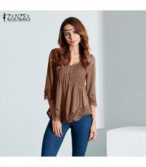 zanzea blusas de las mujeres de encaje elegante camisas otoño blusas tops asimétrico sólido ocasional sexy cuello en v con capucha de manga 3/4 (caqui) -beige