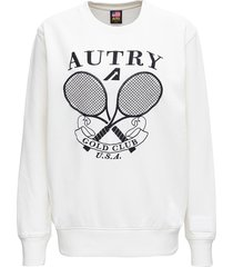 autry white cotton sweatshirt with logo print