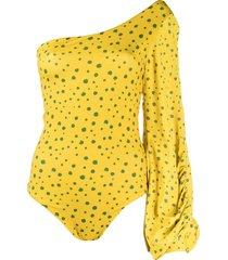 silvia tcherassi splatter dot-print one-shoulder bodysuit - yellow