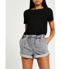 river island womens grey drawstring waist mom shorts