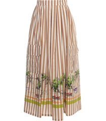erika cavallini ellis skirt w/stripes and print