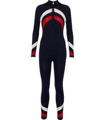 chevron stripe ski overalls