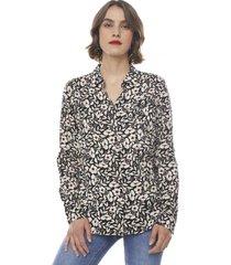 blusa camisera i negro flores  corona