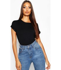 boxy basic t-shirt met omgeslagen mouwen, zwart