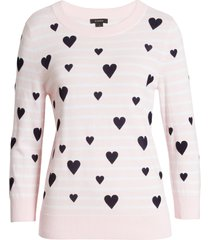 women's halogen x atlantic-pacific heart flocked stripe sweater