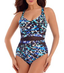 printed mesh-inset one-piece