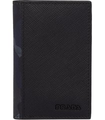 prada saffiano camouflage card holder - black