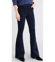 calça feminina flare em veludo cotelê cintura média azul marinho
