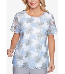 alfred dunner petite french bistro lace floral top