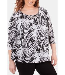ny collection plus size pleated-neck hardware-trim top