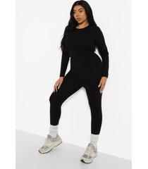 plus crop top met lange mouwen en leggings set, black